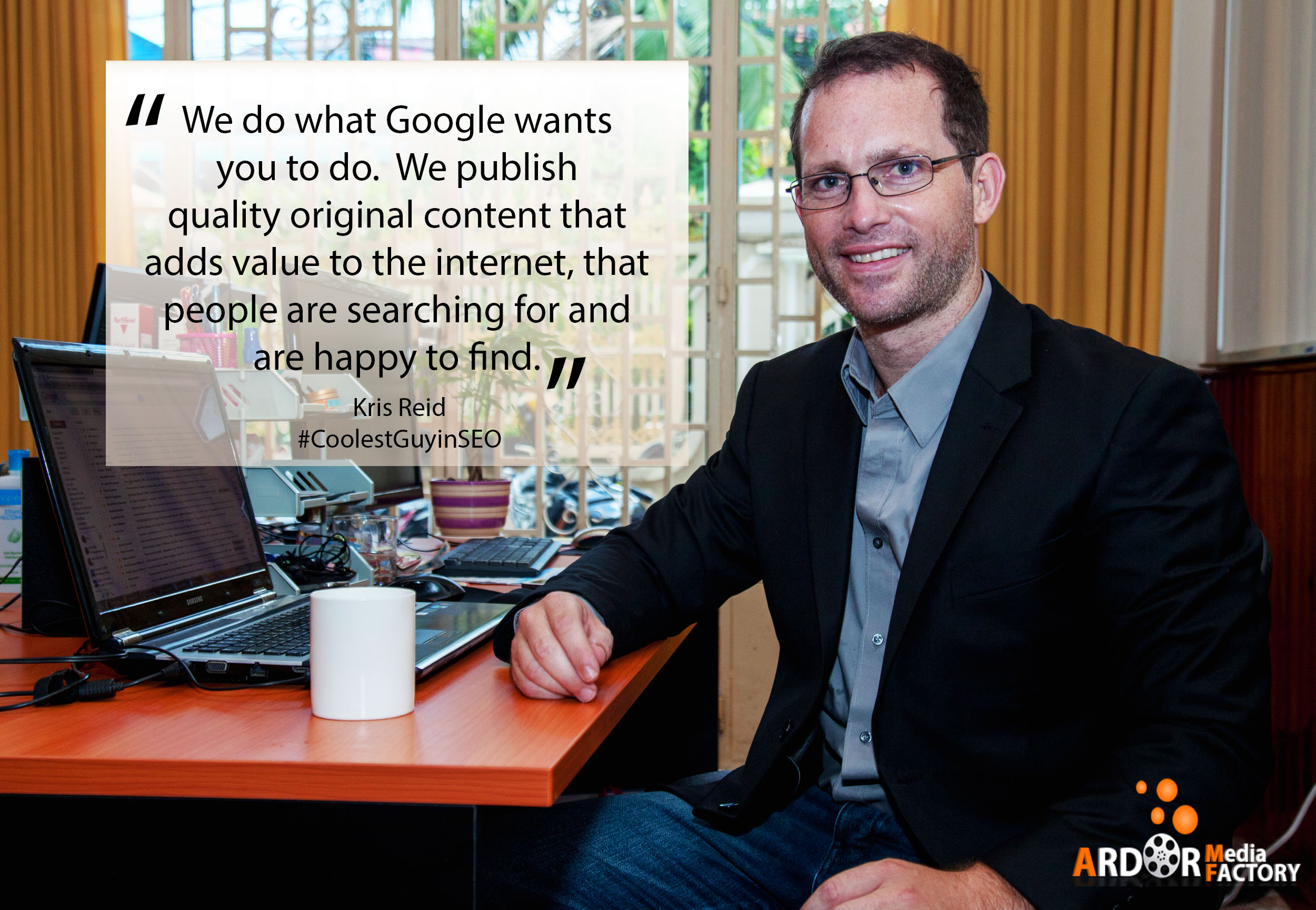 Kris Reid, the coolest guy in SEO, publishes quality content and adds value to the internet.